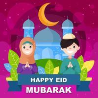 lycklig eid mubarak med två barn vektor