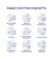 husläkare blå lutning koncept ikoner set vektor