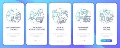 Auswahl der Hausarzt Tipps Navy Onboarding Mobile App Seite Bildschirm mit Konzepten vektor