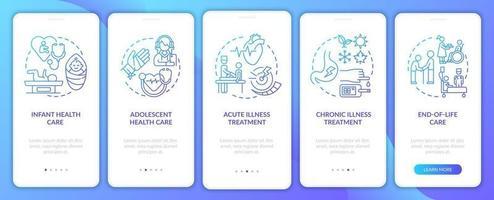 Hausarzt unterstützen Navy Onboarding Mobile App Seite Bildschirm mit Konzepten vektor