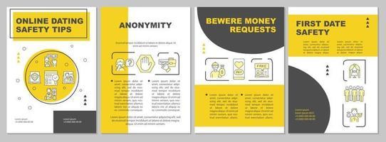 Online-Dating Sicherheitstipps Broschüre Vorlage vektor