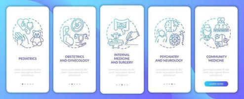 familjemedicinskomponenter marinblå mobilappsskärm med koncept