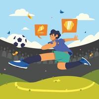 Fußballspieler tritt Ball vektor