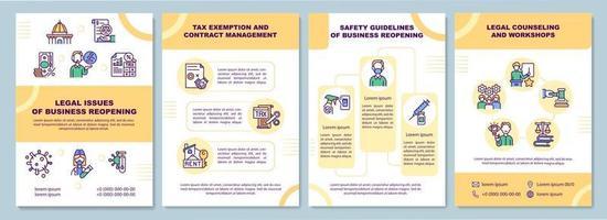 juridiska frågor om broschyrmallen för företag som öppnar igen vektor