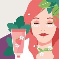 flache Schönheit Hautpflege kosmetische Frau mit Produktillustration vektor