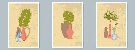 hand rita keramik vas med tropiska växter. trendigt collage för dekoration i grekisk stil.