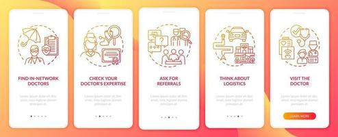 välja primärvårdspersonal tips röd ombord mobilappsskärm med koncept