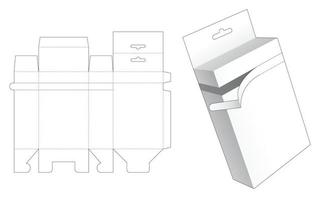 Reißverschlussbox mit Hängeloch gestanzte Schablone vektor