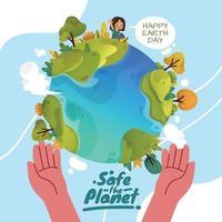 Bring die Erde wieder grün und sicher vektor