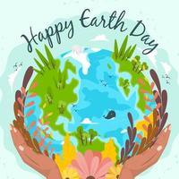 eine geschützte grüne und gesunde Erde vektor