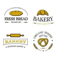 Satz von Bäckerei-Logos, Etiketten, Abzeichen oder Symbolen. mit Brot, Brezel, Croissant, Nudelholz. Gravierte Art Skizze Hand gezeichnete Retro Vintage Vektor-Illustration. vektor