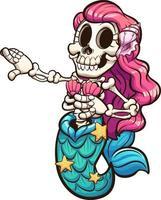 tanzende Skelett-Meerjungfrau vektor
