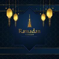 Ramadan Kareem Banner oder Grußkarte mit goldenen arabischen Laternen, Sternen und goldenem Moscheeturm auf blauem Papierschnitthintergrund vektor