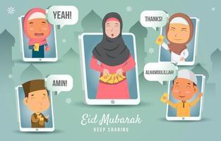 Teilen von Geschenken an muslimische Kinder auf eid al fitr vektor