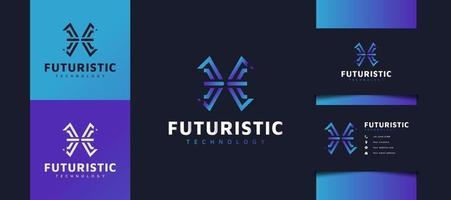 abstrakt initial bokstav x-logotyp i blå lutning. användbar för affärs- och tekniklogotyper. ke logotyp för företag, app, start och varumärke vektor