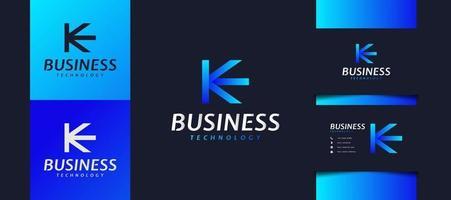 första bokstaven k och e-logotypen i blå lutning. användbar för affärs- och tekniklogotyper. ke logotyp för företag, app, start och varumärke vektor