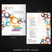 Flyer-Template-Design mit bunten Kreise fließen ins vektor