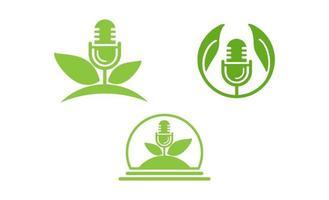 podcast leaf logotyp mall vektor