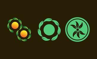 cirkel blad grön kreativ logo design vektor