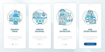 Online-Dating-Risiken Website Onboarding Mobile App Seite Bildschirm mit Konzepten. vektor
