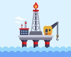 Ölplattform im Ozean für die Ölförderung vektor