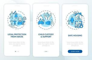 Überlebende häuslicher Gewalt unterstützen das Onboarding des Bildschirms der mobilen App mit Konzepten vektor