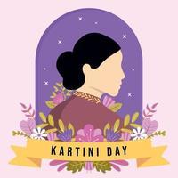 Happy Kartini's Day mit Blumenornamenten vektor