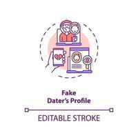 falsk dater profil på dejting webbplats koncept ikon.