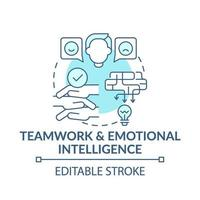 blaue Konzeptikone für Teamarbeit und emotionale Intelligenz vektor