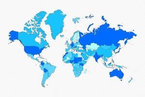 blaue Welt geteilte Karte mit Ländern vektor