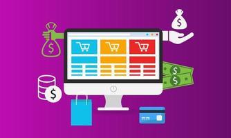 E-Commerce-Online-Shopping auf der Website mit Computer- und Shopping-Symbolen vektor