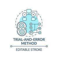 Versuch und Irrtum Methode blaues Konzeptsymbol vektor