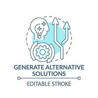generera alternativa lösningar blå konceptikon vektor