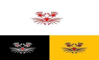 Gesicht Katze Linie Kunst Logo Design Vektor