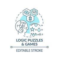 Logik-Rätsel und Spiele blaue Konzeptsymbol