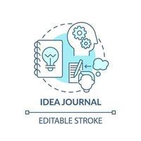 blaues Konzeptsymbol des Ideenjournals