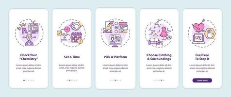 Video-Dating-Tipps Onboarding Mobile App-Seitenbildschirm mit Konzepten.