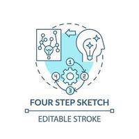 fyra steg skiss blå koncept ikon vektor