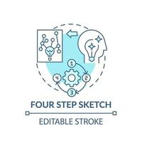 vierstufige Skizze blaues Konzeptsymbol
