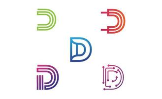 initial d monogram logotyp set design mall vektor