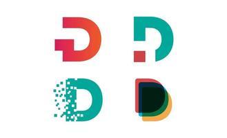 Anfangs-D-Logo-Set-Design-Vorlagenvektor