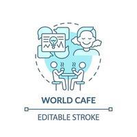 världskafé blå koncept ikon