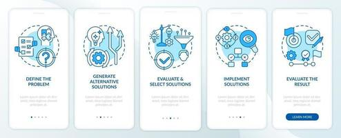 problemlösning steg blå ombord mobilappsskärm med koncept