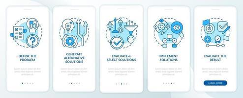 Problemlösungsschritte blauer Onboarding-Bildschirm für mobile App-Seiten mit Konzepten vektor