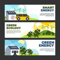 Eco Green Technology Banner Vorlage Set vektor