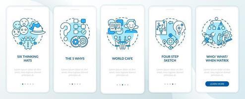 Problemlösungsmethoden Blue Onboarding Mobile App Seitenbildschirm mit Konzepten vektor