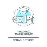versuchen virtuelles Handelskonto Konzept Symbol vektor