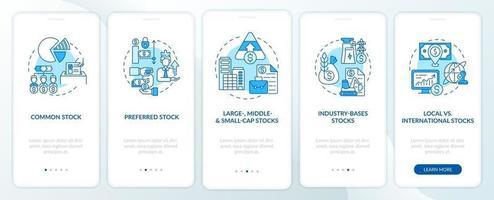 Aktien Arten Onboarding Mobile App Seite Bildschirm mit Konzepten