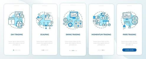 Aktienhandel Ansätze Onboarding Mobile App Seite Bildschirm mit Konzepten