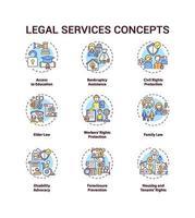 Rechtsdienstleistungskonzeptsymbole eingestellt